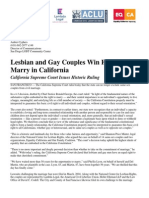 CA Supreme Court Marriage Ruling Press Release