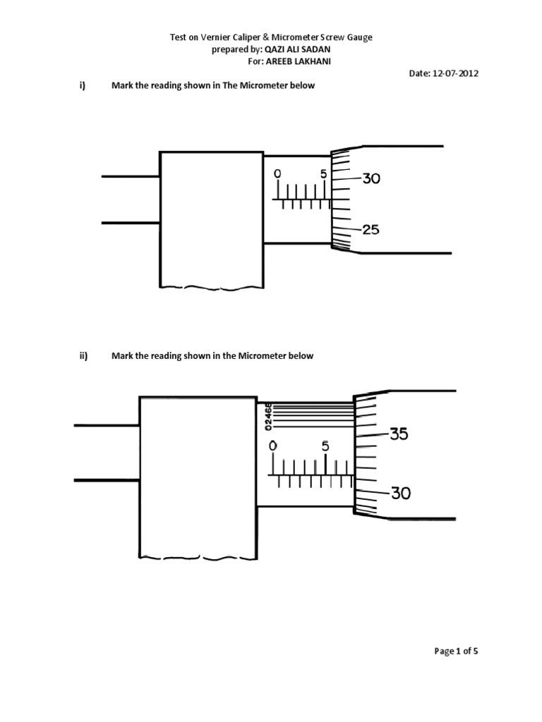 worksheet Micrometer Worksheet Pdf test on vernier caliper micrometer screw gauge