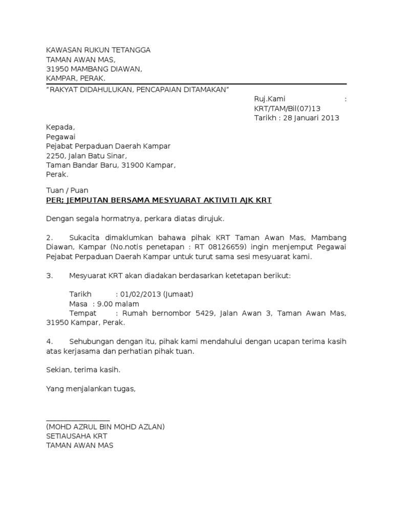 contoh surat rasmi jemputan yb
