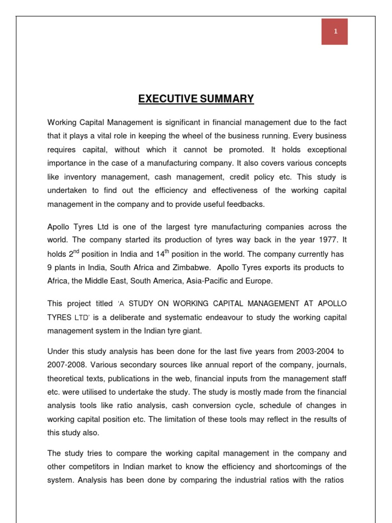 77524307 apollo tyres ltd project report on working capital management doc financial capital working capital
