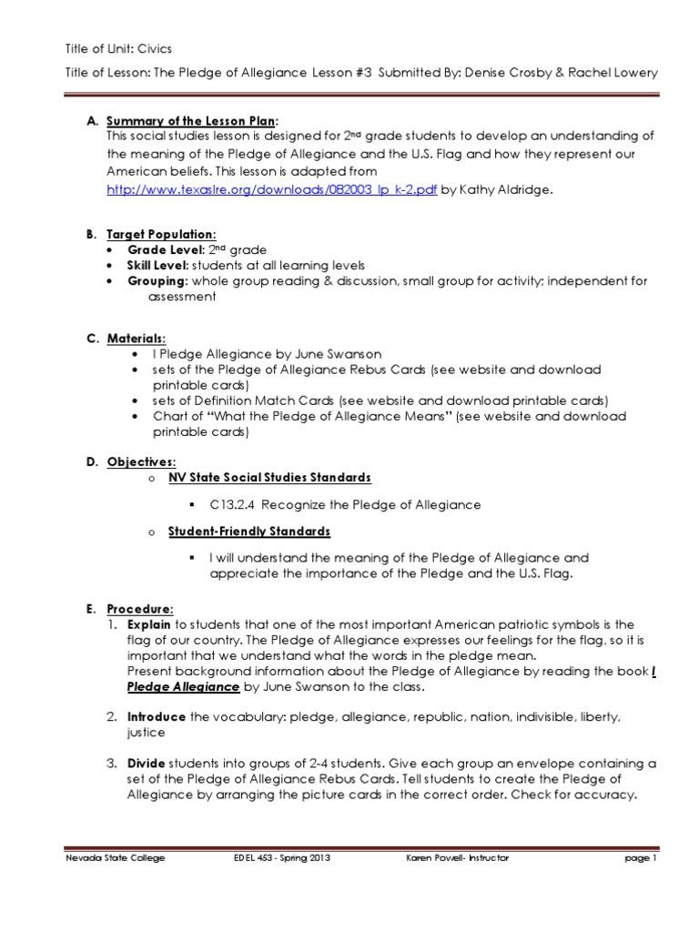 Edel453 Spring2013 Denisecrosby Unit 2 Civics Day 3 Pledge Of