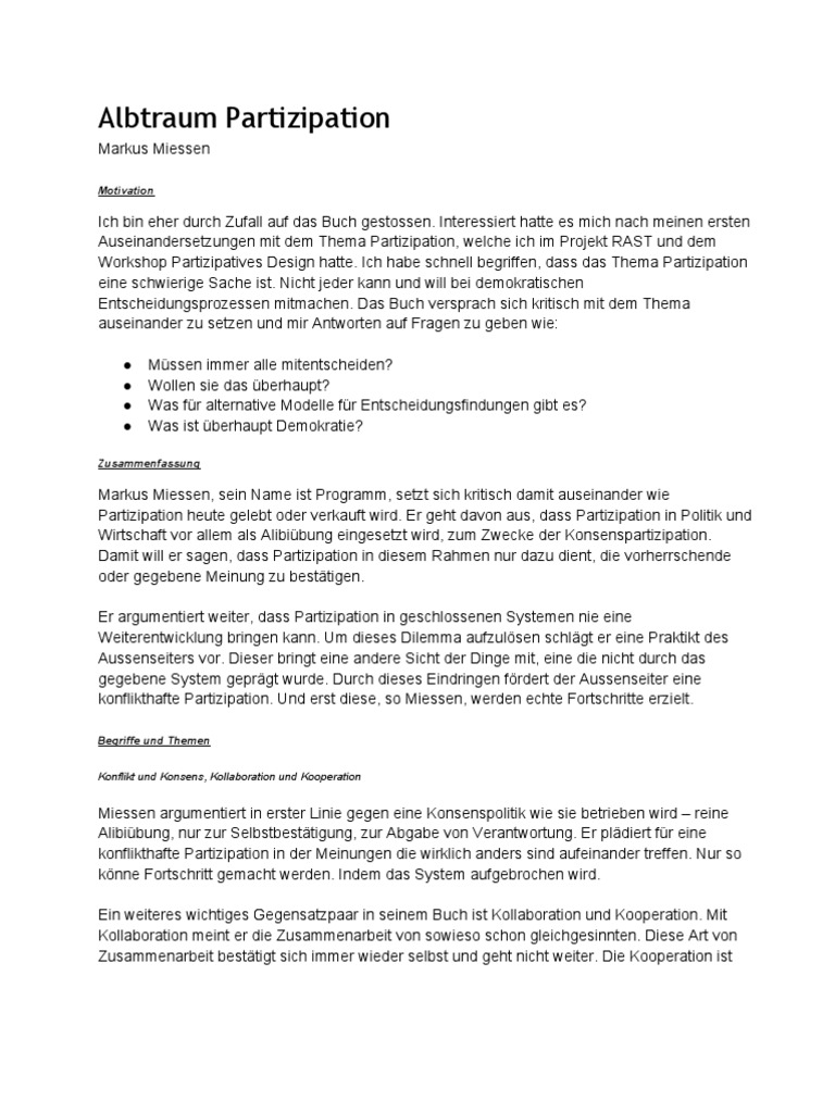 Albtraum Partizipation Markus Miessen Política Ciencia