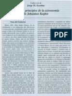 Sobre Los Principios de La Astronomia de Johannes Kepler
