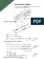 Vigas Inclinadas - Exemplo - Viga Biapoiada Com Balanco Superior Submetida a Uma Forca Vertical Uniformemente Distribuida Ao Longo Da Direcao Inclinada