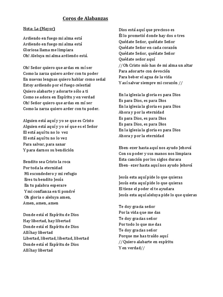 Alabanzas Cristianas De Adoracion coros de alabanzas y adoracion original.docx | cristo
