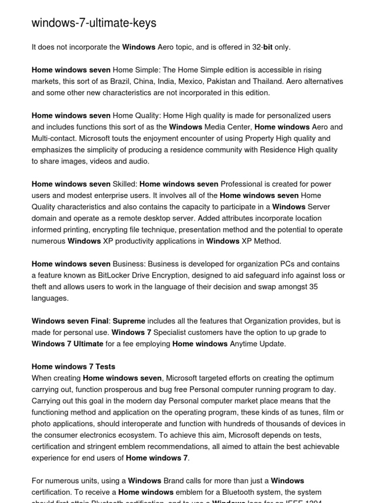 Windows 7 Ultimate Keys Windows 7 Microsoft Windows