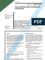 NBR 13817-1997 (ISO 13006-1995) Placas Cerâmicas para Revestimento - Classificação