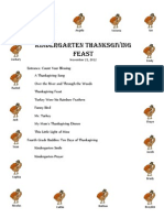 Kindergarten Thanksgiving Feast November 21
