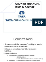 Financial Ratios of Tata Chemicals and Z Score Calculation