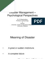 Disaster Management - Psychological Perspectives