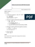 Prueba de Matemáticas Curso de Verano 2013 Nivel Avanzado