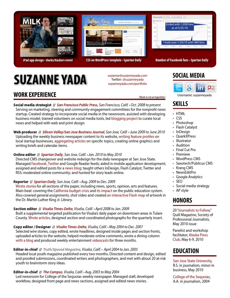Suzanne Yada Resume - Revised 7/14/10 | Copy Editing | Digital