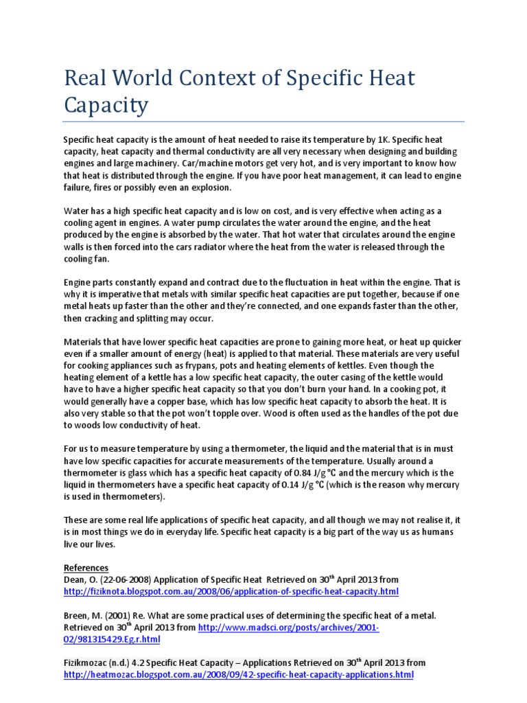 Specific heat capacity: why it is needed and what is its meaning 3