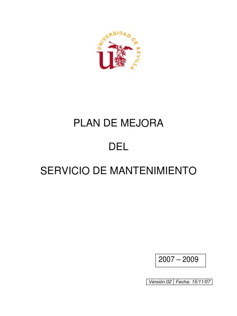 Plan Mejora Servicio Mantenimiento