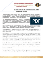 2013-03 Diplomat Earns Role Prince & Ambassador Matthew Greene Kingdom of Mann