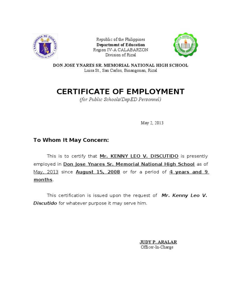 Certificate of previous employment sample image collections sample certificate of employment yadclub Image collections