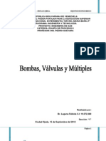 bombas, válvulas y múltiples