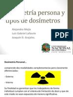Dosimetría persona y tipos de dosímetros