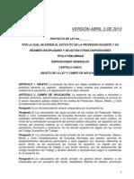 Proyecto Estatuto Version Abril 3 de 2013