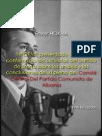 Enver Hoxha. Informe presentado ante la conferencia de activistas del partido de Tirana sobre los análisis y las conclusiones del XI pleno del Comité Central del Partido Comunista de Albania; 1948