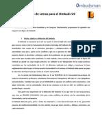 Propuesta de Letras Para El Ombuds UC