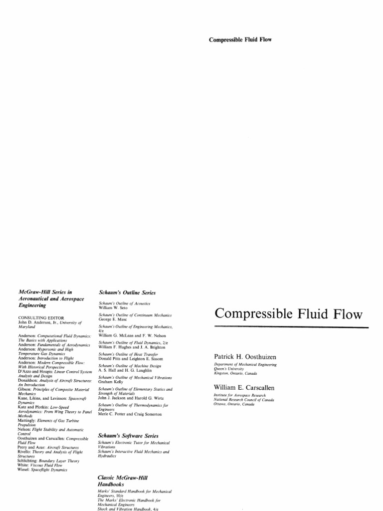 Compressible fluid flow by oosthuizen fandeluxe Image collections
