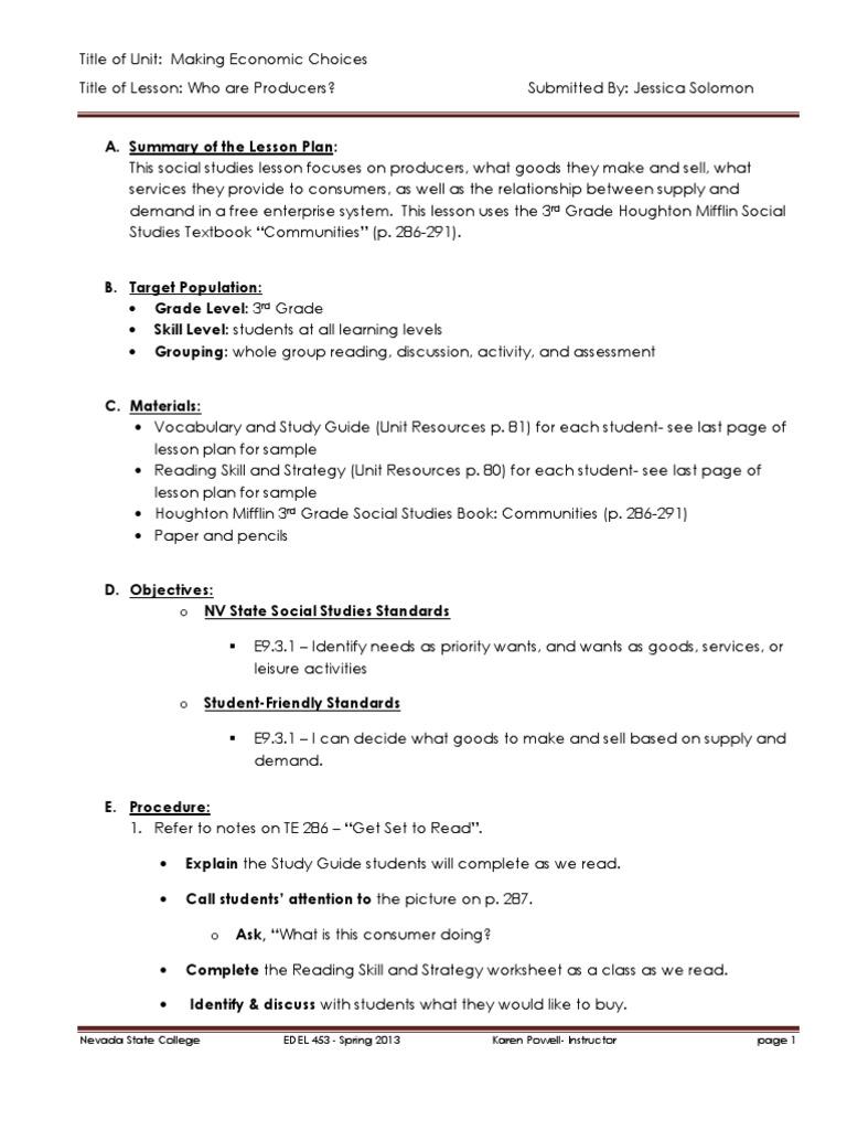 edel453 spring2013 jessicasolomon unit 1 economics day 3 lesson