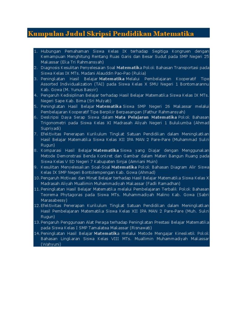 Kumpulan Judul Skripsi Pendidikan Matematika