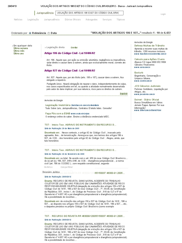 violaÇÃo dos artigos 186 e 927 do cÓdigo civil brasileiro busca
