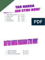 Daftar Harga Stmj Hori'