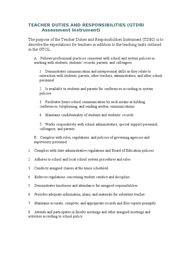 Teacher role and responsibilities essay