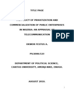 New ProjectTHE POLICY OF PRIVATIZATION AND COMMERCIALIZATION OF PUBLIC ENTERPRISES IN NIGERIA