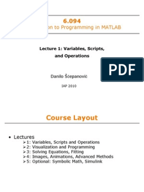Introduction to Matlab Mit   Matrix (Mathematics)   Ordinary
