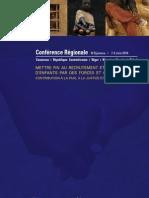 Mettre fin au recrutement et à l'utilisation d'enfants par des forces et groupes armés, Compe Rendu de la Conférence Régionale (7-9 Juin 2010)