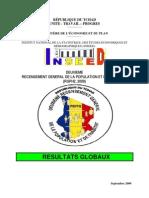 DEUXIEME RECENSEMENT GENERAL DE LA POPULATION ET DE L'HABITAT (RGPH2, Septembre 2009)