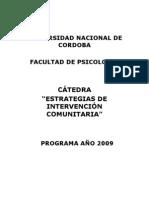 Programa Psicologia Comunitaria 2009 - Estrategias de Intervenciòn Comunitaria