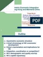 The Asymmetric Economic Integration between Hong Kong and Mainland China
