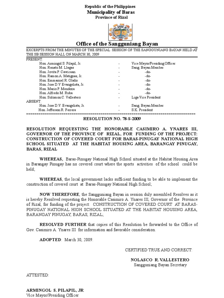 sample request resolution letter  Request to Gov. Casimiro Ynares III for the construction of covered ...
