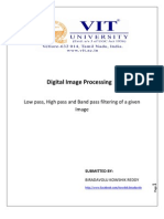 Low pass filtering, high pass filtering, band pass filtering of an image along with Matlab code.
