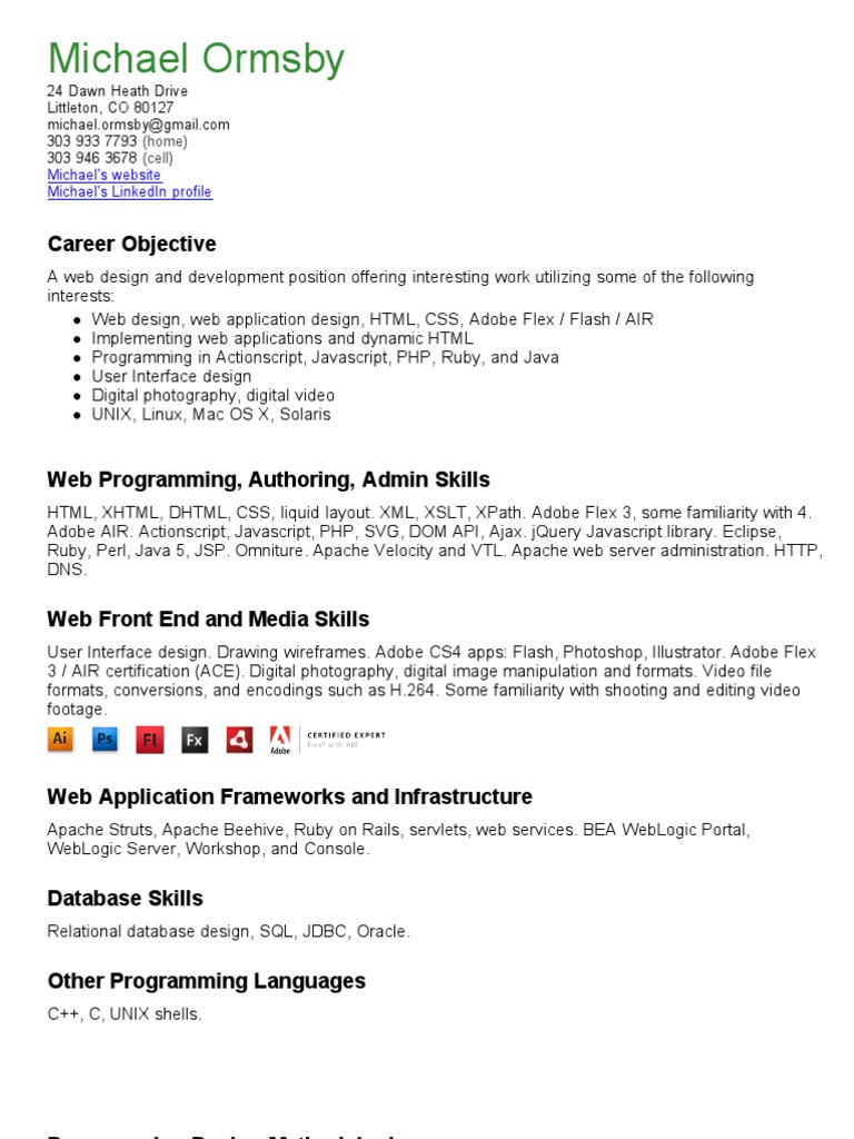 Mike ormsby resume | Dynamic Html | Web Application
