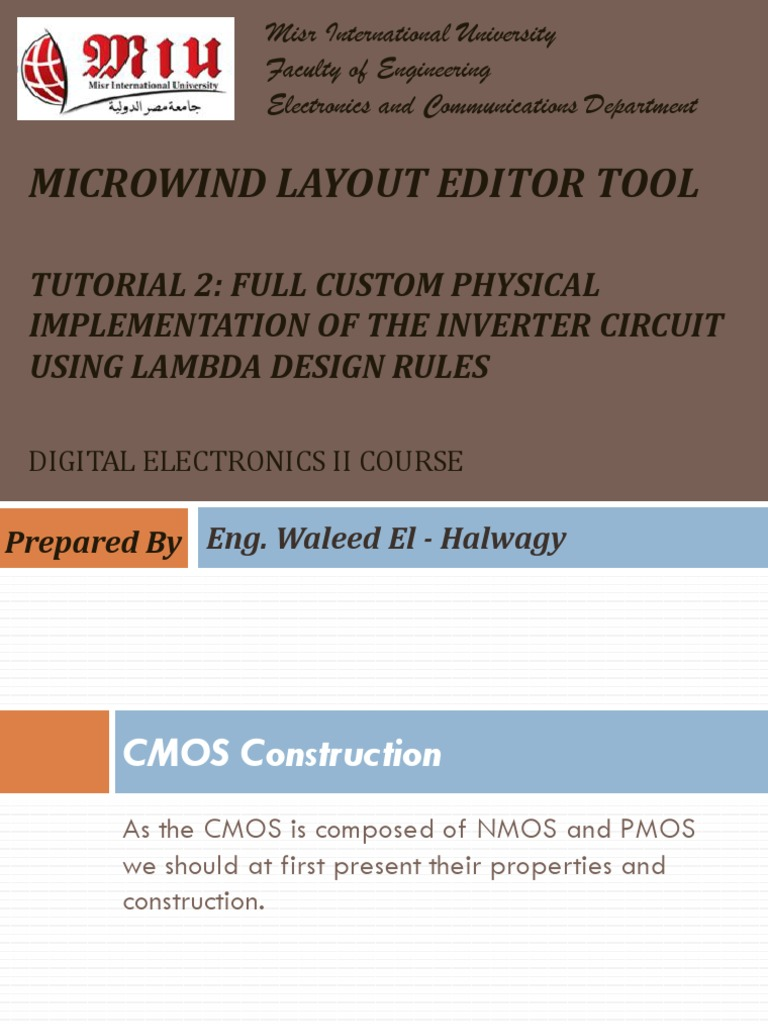 Microwind Tutorial Cmos Mosfet Simulation Of The Circuit
