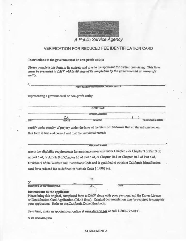 ca dmv form dl 937 verification for reduced fee id card. Black Bedroom Furniture Sets. Home Design Ideas