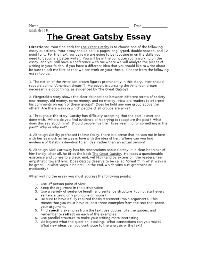 the great gatsby final essay the great gatsby american dream