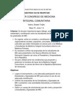 Primer Congreso de Medicina Integral Comunitaria