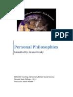 EDEL453 Spring2013 DeniseCrosby Personal Philosophies