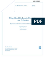 Using Mixed Methods in Monitoring and Evaluation Experiences from International Development