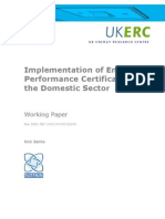 UK Implementation of Energy Performance Certificates Report (Domestic)