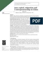 Human Capital EntrpreneHuman capital, migration and rural entrepreneurship in Chinaurship in Rural China