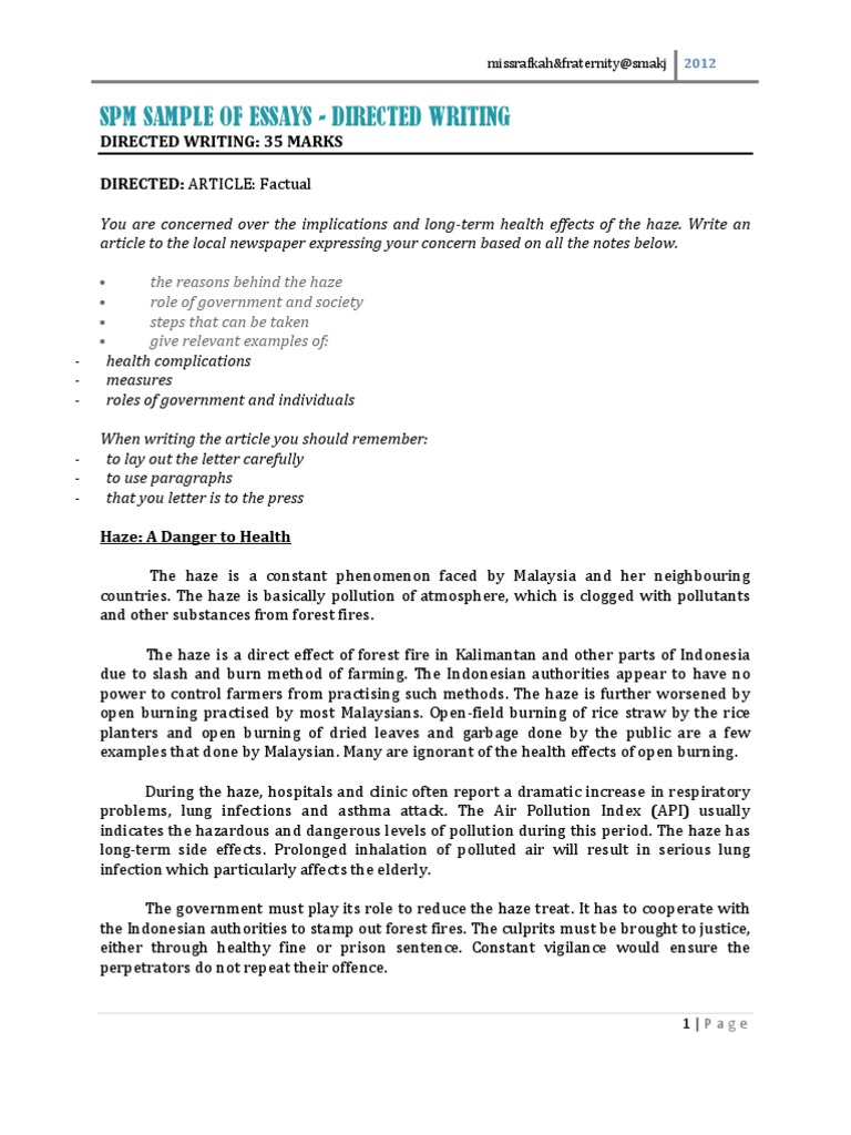 Essay On Good Health  Example Of A Essay Paper also English Language Essays Spm Sample Of Directed Writing Essays  Helen Keller  Smoking Essay Research Paper