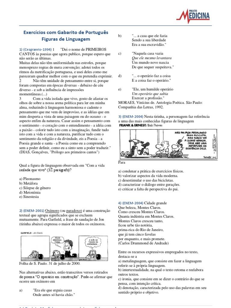 Exercicios Portugues Redacao Figuras De Linguagem